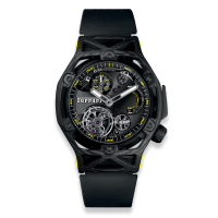 Часы Hublot Techframe Ferrari Tourbillon Chronograph Carbon Yellow 45mm 408.QU.0129.RX