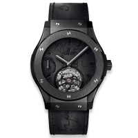 Часы Hublot Tourbillon Power Reserve 5 Days Berluti Scritto All Black 45mm 505.CM.0500.VR.BER17