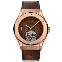 Часы Hublot Tourbillon Power Reserve 5 Days Berluti Scritto King Gold 45mm 505.OX.0500.VR.BER17