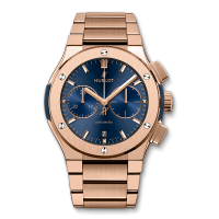 Часы Hublot Blue Chronograph King Gold Bracelet 45mm 520.OX.7180.OX